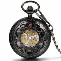 Handaufzug Mechanische Taschenuhr Skelett Uhr Schwarz Retro Openwork