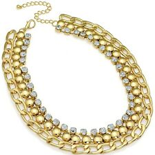 Statement crystal Cleopatra style gold colour fashion jewellery choker necklace