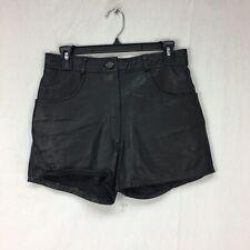 VTG Womens Large Black Real Leather High Waist Hot Pants Club Raver Biker Punk