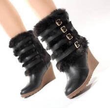 2018 New women faux fur winter Warm Boots Wedge Heel Buckles Mid Calf snow Boots