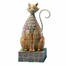 JIM SHORE HEARTWOOD CREEK - CHECKERS - BROWN CAT CHECKERED PATTERN