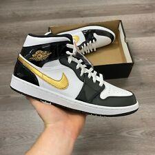Nike Air Jordan 1 Mid se Patente Negro Oro Cesta Bola Zapatos UK 12 nos 13 EUR47.5