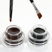 2Pcs Waterproof Eye Liner Eyeliner Shadow Gel Makeup Cosmetic Brush Black Brown