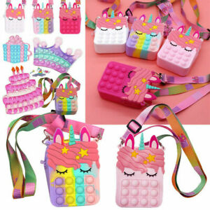 Popit Handbag Unic-orn Fidget Toys Popper Bubbles Coin Purse Girl Messenger Bag