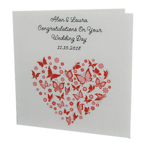 Handmade Personalised Congratulations On Your WEDDING DAY Butterfly Heart Card