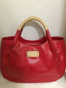 Authentic KATE SPADE NEW YORK Red Cow Leather Med Handbag Bag Purse