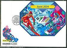 SOLOMON ISLANDS 2014 SOCHI WINTER OLYMPICS SKATING & SKIING S/S FDC