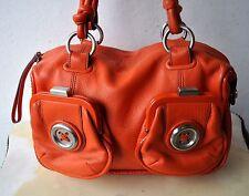 MIMCO Orange Pebbled Leather Button Bag Handbag Gorgeous 2 Ext Pockets RARE!