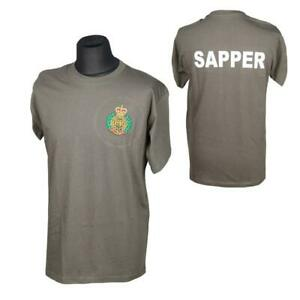 ROYAL ENGINEERS RE CRE OLIVE EMBROIDERED T-SHIRT SAPPER
