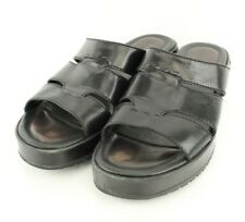 Cole Haan Womens Sandals SZ 8.5 B Slide On Open Toe Chunky Black Leather Strapy