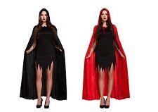 Deluxe Red Black Velvet Hooded Cloak Cape Long Vampire Halloween Fancy Dress