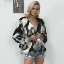 Womens Winter Warm Faux Rabbit Fur Coat Chic Outerwear Jacket Black White Stripe