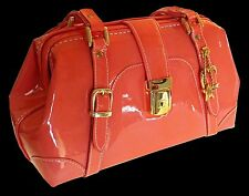 DESIGNS BY PAOLO WOMENS DOCTORS BAG TANGERINE PATENT LEATHER PURSE TOTE NEW