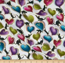 "Benartex Fabric ""Cat-I-Tude"" Hearts by Ann Lauer Fabric by 3/4 Yard Piece"