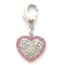 Dog Pet Rhinestones Heart&rose Charm Pendant Cat Puppy Collar Charm Jewelry
