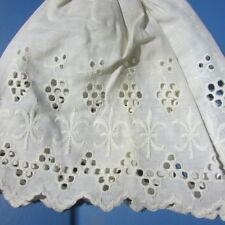 "Antique Doll Eyelet Embroidered Skirt Fleur De Lis Pattern Slim Dolls 7"" Long"