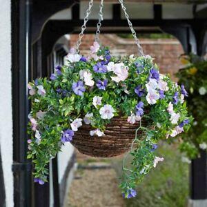 Artificial Petunia Hanging Basket Indoor Outdoor Garden Flower Arrangement