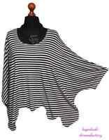 MYO-Lagenlook Oversize- Bogen Wellen Überwurf Shirt Streifen 44,46,48,50,52,54