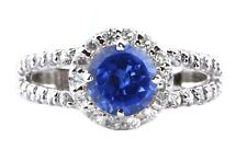 Natural Blue Tanzanite 1.80Ct EGL Certified Diamond Ring In 14KT White Gold