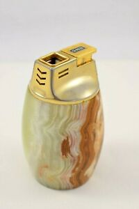 Vintage Piezo Onyx Green Marble & Brass Carved Table Lighter with working flint