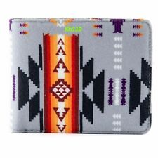 Southwest Native American Print Bi-Fold Fleece Wallet-Gray