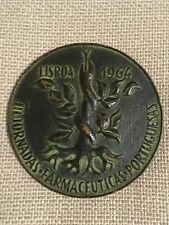Beautiful antique and rare bronze medal of Lusitana Pharmaceutical Society, 1964