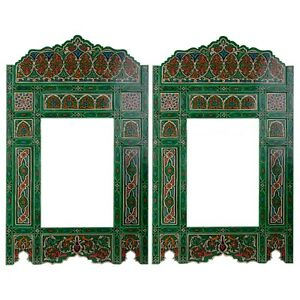 Set of 2 Painted Green Vintage hanging mirror frame, Vintage farmhouse decor