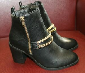 Koi Couture Black Ladies Ankle Boots Gold Chain Inner Zip Brand New In Box