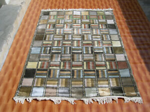 Multi Color Silk Oriental Rug Decor Carpet Striped Design Hand Knotted 4'x6' ft