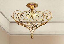 Plafoniera classica in metallo oro invecchiato e vetri crema coll. Dese 4370-6PL