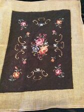 Vintage complete hand embroidered wool tapestry