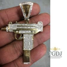 Large 1.38cttw Genuine Round Cut Diamond Solid 10K Yellow Gold GUN Pendant