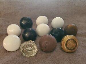 Antique Vintage LOT OF 12 Porcelain, Brass, Metal, Glass Assorted Door Knobs