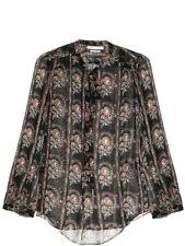 Etoile Isabel Marant Siandra Silk Black Floral Paisley Blouse Top Size 40