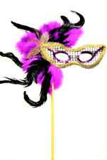 MASQUERADE FANCY DRESS LADIES PURPLE FEATHER STICK MASK HALLOWEEN HEN PARTY