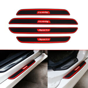 4x Car Accessories Carbon Fiber Door Sill Scuff Plate Panel Step Threshold Cover