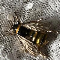 Enamel Bee Brooch Yellow Black White Enamel Bug Insect Pin