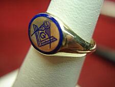 VINTAGE 10K YELLOW GOLD MASONIC RING W/ BLUE ENAMELING - NICE