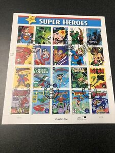 US 4084 DC Comic Super Heroes Souvenir Page Of 20 Stamps First Day Of Issue 2006