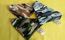 Slide on dog bandana size S in 3 camouflage colours blue  .beige  green poly