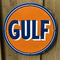 VINTAGE GULF PETROLEUM PORCELAIN METAL SIGN USA OIL LUBE GAS STATION AUTO TRUCK