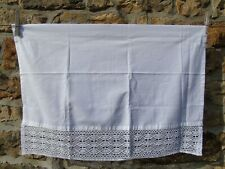 French a white curtain 100% cotton with crochet trim un use or old stock