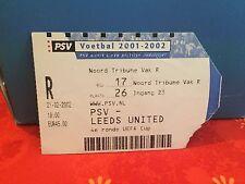 Football Ticket -  PSV - Leeds United - 2001-2002
