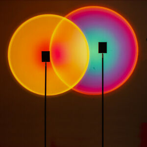 The Sun Never Sets LED Floor Lamp Rainbow Sunset Projection Table Lamp HOT