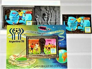 COMORES KOMOREN 1978 485 Block 181-82 A RED ovp Soccer World Cup Fußball WM R !