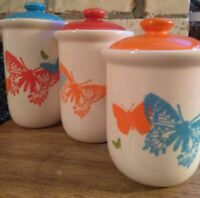 Rare Gourmet Expressions 3 Piece Retro / MCM looking Butterfly Ceramic Canister