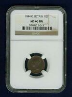 G.B./U.K. VICTORIA 1844 HALF-FARTHING CERTIFIED NGC MS63BN, CHOICE UNCIRCULATED!