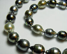 ESTATE NATURAL GENUINE TAHITIAN CULTURED PEARL NECKLACE 14K GOLD