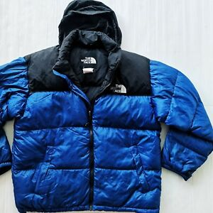 *HOT Men THE NORTH FACE 700 GOOSE DOWN HOODED QUILTED PUFFER BLUE COAT JACKET XL