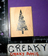 PINE CHRISTMAS TREE SWIRL TRIANGLE RUBBER STAMP HAMPTON ART